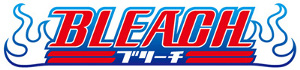 "The word ""BLEACH"" is in red block letters with blue outlines. Below it are two horizontal lines interrupted in the middle by various typographical characters. On either side of the word are blue outlines of flames."