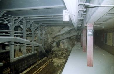 The Cortlandt Street station partially collapsed as a result of the collapse of the World Trade Center. Cortlandt St station demolished.jpg