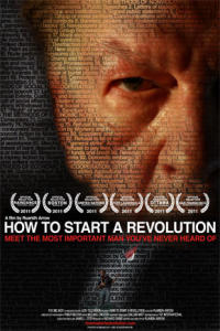 "Movie poster showing close-up of Gene Sharp's face, with title ""How to Start a Revolution"", and list of awards."