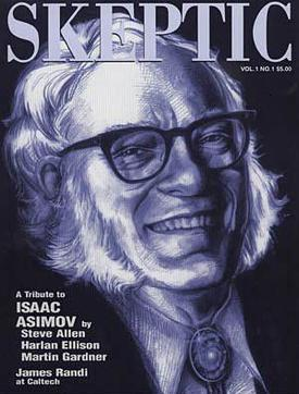 Isaac Asimov - Cover of Skeptic Magazine - Vol 1 - No 1