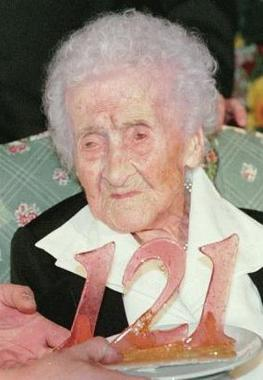 Jeanne Calment at age 121 in 1996, the oldest ...