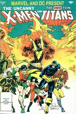 Front cover art for The Uncanny X-Men and The New Teen Titans.