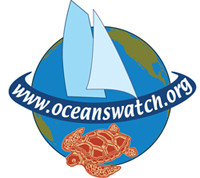"8 tone image of Earth with a banner that reads ""OceansWatch"" draped over where the equator is. A sea turtle takes up most of the southern hemisphere while two sailboat sails occupy the northern hemisphere."
