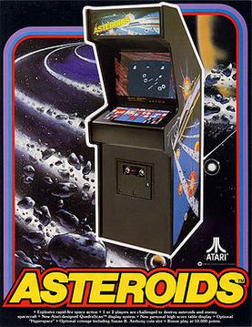 An arcade cabinet over a background of asteroids in rings around a planet. The Asteroids logo and details about the game are seen at the bottom of the flyer.
