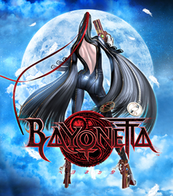 "A long-haired woman dressed in black with white gloves brandishes one gun in her right hand and two attached behind her feet. A dark logo with ""Bayonetta"" in stylized capitals appears at her legs, and a full moon in a nightly, cloudy sky appears behind both-which she faces."