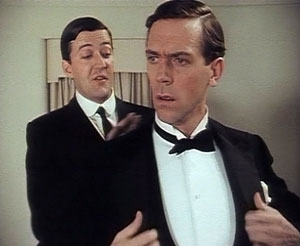 Stephen Fry (left) as Jeeves and Hugh Laurie a...
