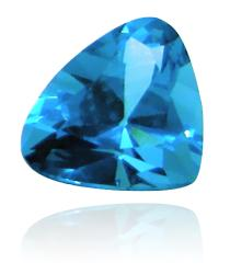 Blue, translucent diamond, shaped roughly like a pyramid