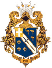 The official coat of arms of Alpha Phi Omega.