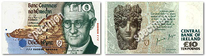 Front and back of a specimen £10 note. Joyce's face covers the right third of the front. The back has an anonymous ancient face and says 'CENTRAL BANK OF IRELAND'.