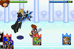 Sora battles Vexen. Player information, including cards and HP, is located on the left side of the screen while enemy information is located on the right. COM battle.png