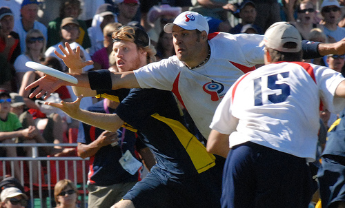 A disputed foul was called by the Swedish player (in blue) after this attempted block in the 2007 European Championship final between Great Britain and Sweden in Southampton, UK. Foulcall.jpg