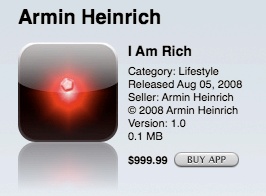I Am Rich, as it appeared in the United States' version of the App Store, with a price of US$999.99