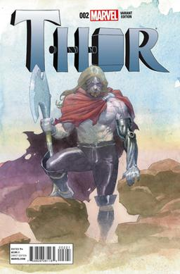 Odinson with the battle axe Jarnbjorn and a prosthetic arm on a variant cover of Thor vol. 4, #2 (Jan. 2015). Art by Esad Ribic. Variant cover of Thor 4-2.jpg