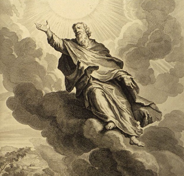 The prophet Enoch along with his entire 'City of Zion' was, according to the Book of Moses, translated from a fallen world to heaven. Enoch ascends to heaven by Gerard Hoet, illustration for Figures de la Bible, 1728.
