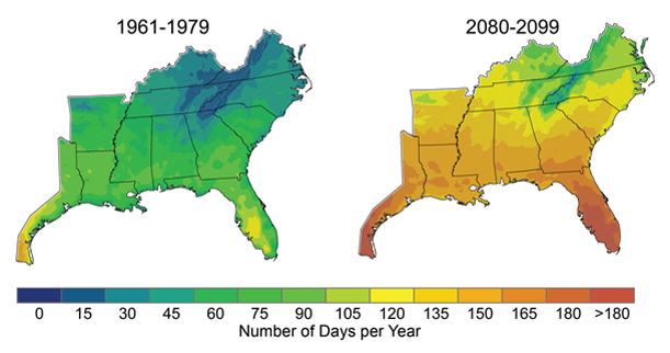 The number of days per year with peak temperature over 90ºF is expected to rise significantly, especially under a higher emissions scenario4 as shown in the map above. By the end of the century, projections indicate that North Florida will have more than 165 days (nearly six months) per year over 90ºF, up from roughly 60 days in the 1960s and 1970s. The increase in very hot days will have consequences for human health, drought, and wildfires.
