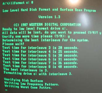 Low-level format utility performing interleave speed tests on a 10-megabyte IBM PC XT hard drive.