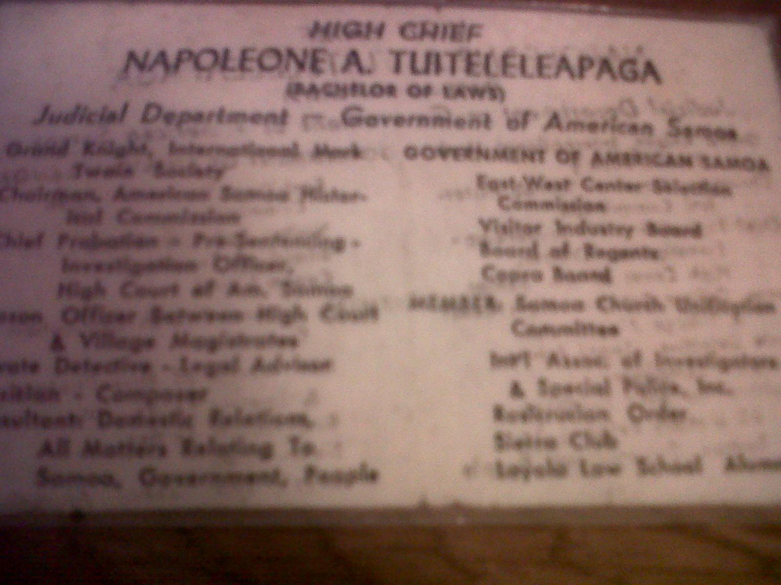 Napoleon Andrew Tuiteleleapaga