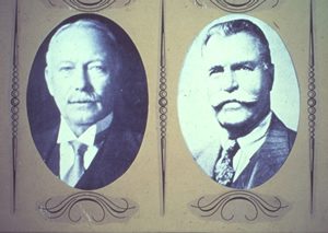 Black-and-white photographs of Crayola's founders Edwin Binney and his cousin, C. Harold Smith, c. 1900