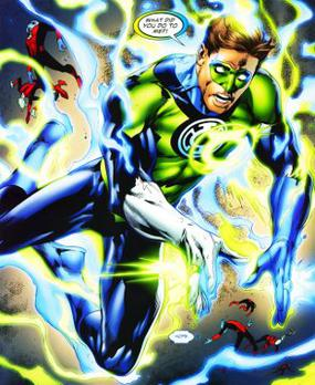 Hal Jordan as a member of two Lantern Corps in...