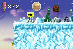 Screenshot of the video game Gumby vs. the Astrobots