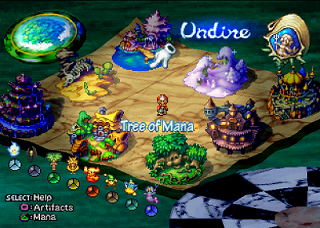 The world map as presented in the Land Make system. Eight locations are shown; the rankings for each Spirit of Mana for the selected artifact are shown below the map. Legend of Mana Land Make.png