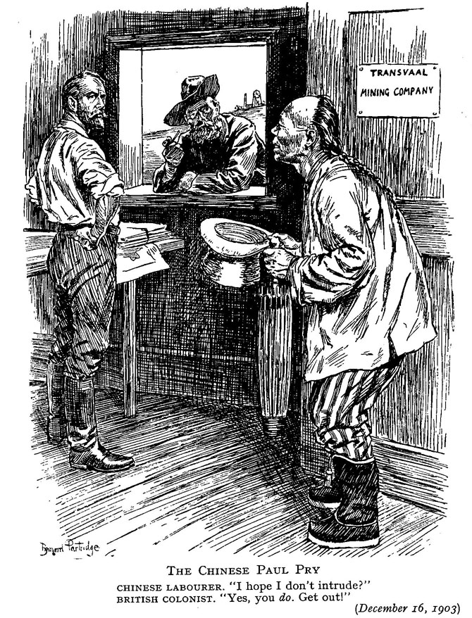 Punch cartoon, 1903; The Rand mine-owners' employment of Chinese labour on  the Transvaal gold mines was controversial and contributed to the Liberal  victory ...