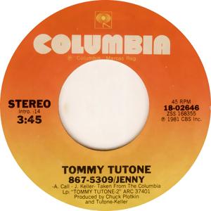 867-5309/Jenny 1981 single by Tommy Tutone