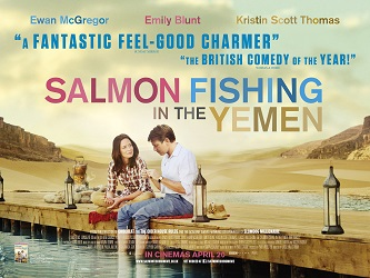 Movie release poster for Salmon Fishing in the Yemen, courtesy of the studios involved: BBC Films, Lionsgate, UK Film Council, Kudos Pictures, Davis Films