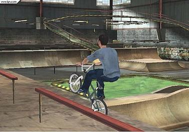 The player grinds on a rail.
