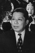 "Director and author Tetsuji Takechi at a ""Takechi Kabuki"" performance some time between 1945 and 1955"