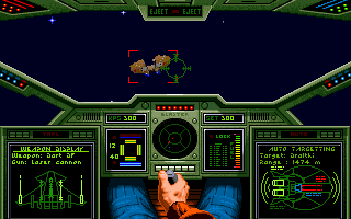Screenshot showing the cockpit of the player's ship and a targeted enemy in an outer space setting. Wing Commander screenshot.png