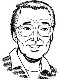 Black and white pen drawing of a middle aged Asian man.