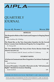 Cover of the AIPLA Quarterly Journal circa 2014.png