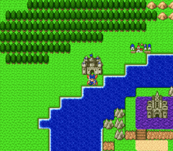 A two-dimensional video game screenshot that shows the protagonist in front of a castle. Dragon Quest ...