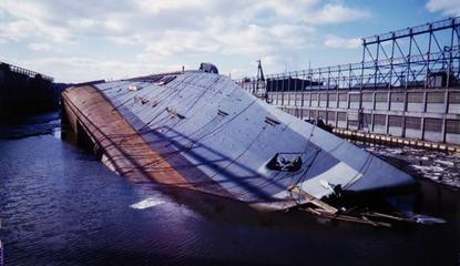 the normandie sunk tipped over