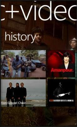 The Music + Video Hub on Windows Phone.
