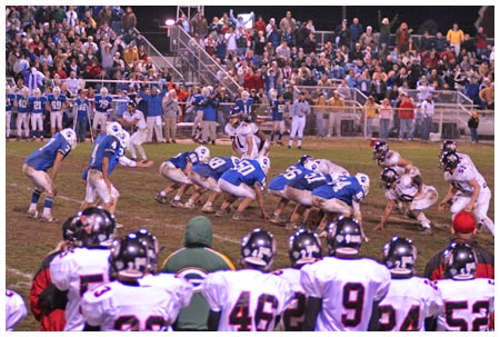 "The 2005 ""Iron Kettle Game"" between Lewistown (blue) and Indian Valley (white). Photo by Frank DiGiorgino Iron Kettle 2005.jpg"