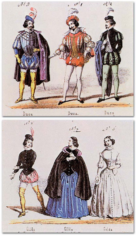 Costumes for the Duke of Mantua and Gilda published by Casa Ricordi shortly after the 1851 premiere Rigoletto premiere costumes for the Duke and Gilda.jpg