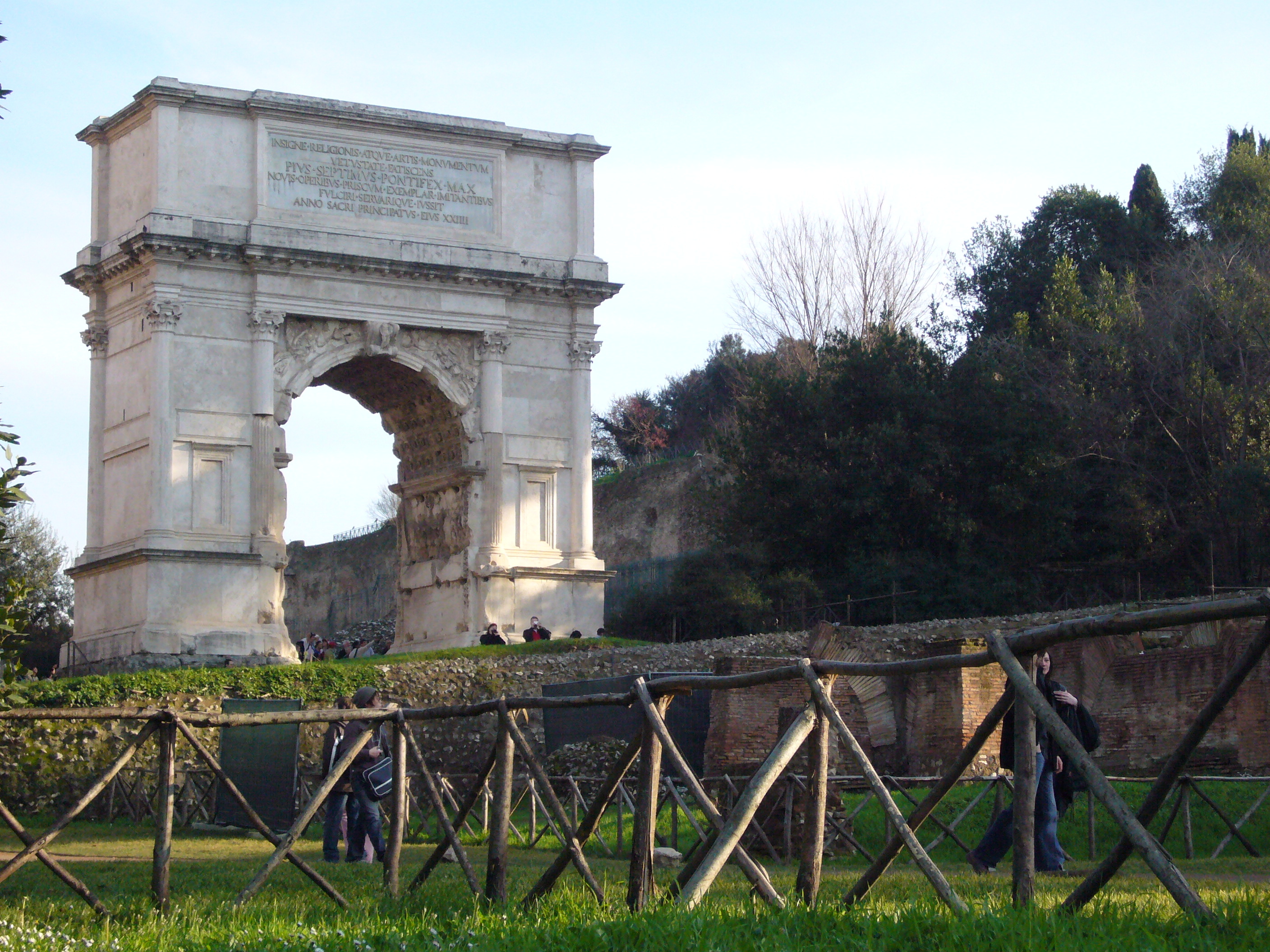 The Arch of Titus, praising Titus for subduing the Jews, inspired the later Arc de Triomphe in Paris.