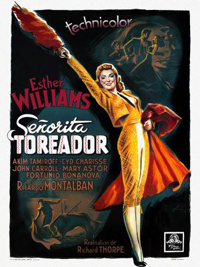 Illustration of Esther Williams wearing a traje de luces outfit for the French theatrical release poster for Fiesta.