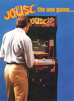 "A blue, vertical rectangular poster. The poster depicts a man in a dress shirt and slacks in front of a black arcade cabinet with the title ""Joust"" displayed on the top portion. Above the cabinet, the poster reads ""Joust the one game..."" in orange letters."