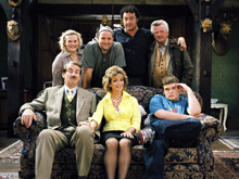 Only Fools and Horses spin-off, The Green Green Grass, featuring Boycie (John Challis, seated left) and Marlene (Sue Holderness, seated centre)