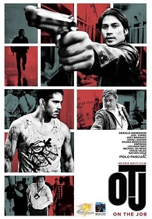 "The film's poster. At the top, Piolo Pascual is shown pointing a pistol in a wide shot, and his running silhouette is to the left. Gerald Anderson is shown center-left, covered in blood and looking on his left with a grim and intimidating expression. He is shown far left with Joel Torre, both with their backs turned and handcuffed with a shoulder bag strapped on them. Torre is shown center right with the same expression as Anderson's with his right hand extended below, presumably pointing a gun. Joey Marquez is shown bottom left, running in the middle of a crowd. The abbreviation ""OTJ"" is shown bottom right, written in large, bold typeface; above it is a list of the cast and below the film's full title in small and red uppercase text."