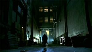 Angel screenshot from the opening credits.  Taking place in a dark metropolis, Angel often alluded to the noir detective genre that influenced the show.