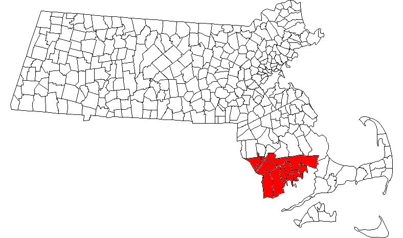 Map of Massachusetts towns with the Merrimack Valley highlighted