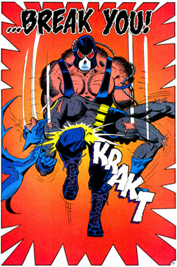 The famous scene from Batman: Knightfall where Bane breaks Batman's back across his knee.