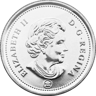 Canadian coin worth 25 cents