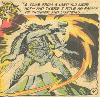 Thor, as depicted by Jack Kirby in Tales of the Unexpected #16 (1957). Unexpected Thor.JPG