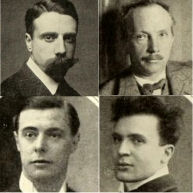 face shots of four middle aged men, one bearded, one moustached, two clean shaven