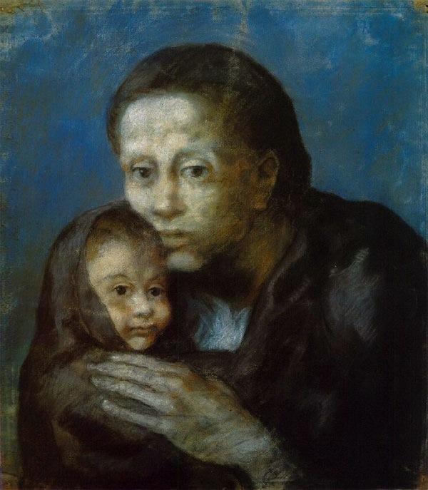 File:Pablo Picasso, 1903, Desemparats (Maternité, Mère et enfant au ...